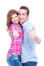 Happy couple with thumbs up sign portrait of isolated on white background Stock Images