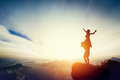 Happy couple on the top of the world! Man holding woman on his arms Royalty Free Stock Photo