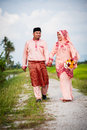 Happy couple walking at padi field newly wedded on path Royalty Free Stock Photos