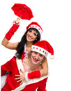 Happy couple wearing santa claus clothes Stock Image