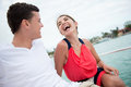 Happy couple on a yacht enjoying romantic date the Royalty Free Stock Photos