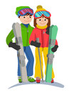 Happy couple of young people man and woman funny skiers in full growth. Vector illustration in a flat design isolated on