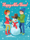 Happy couple of young people sculpts snowman. Vector illustration card congratulation new year.