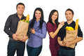 Happy couples at shopping for food Royalty Free Stock Photo