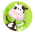 Happy cow character  - farm animal Royalty Free Stock Photography