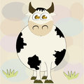 Happy cow with grass a fat in a textured background Royalty Free Stock Photo