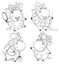 Happy cows. Clip-Art. Cartoon. Coloring book
