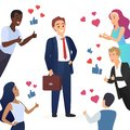 Happy cute businessman and people with thumbs up. Likes hearts and positive feedback from fans concept vector