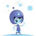 Happy cute cartoon alien spaceman in space galaxy wearing spacesuit and helmet with antenna Stock Photography