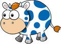 Happy cute cow vector illustration art blue Royalty Free Stock Image