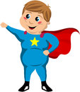 Happy cute fat superhero kid illustration featuring a boy with cape standing in a pose isolated on white background eps file Royalty Free Stock Image
