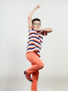 Happy cute kid little boy jumping. Happiness. Royalty Free Stock Photo