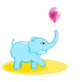 Happy cute little blue cartoon elephant walking trying to catch a flying purple ball on Stock Images