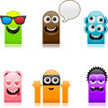 Happy cute monsters set vector illustration of separate layers for easy editing Stock Image