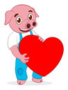 Happy cute pig with heart Royalty Free Stock Photos