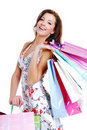 Happy cute young woman shopping Stock Photo