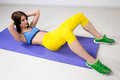 Happy cutie athletic girl ,  execute exercise on Royalty Free Stock Photo