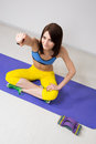 Happy cutie athletic girl execute exercise on muscles belly Stock Photo