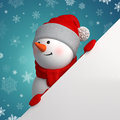 Happy d snowman holding white page corner christmas banner template blank place for adding text Royalty Free Stock Photography