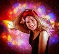 Happy dancing girl Royalty Free Stock Photo