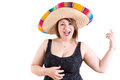 Happy Dancing Lady in Black Shirt with Mexican Hat Royalty Free Stock Photo