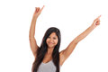 Happy dancing young Asian woman Royalty Free Stock Photography