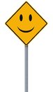 Happy day ahead conceptual road sign with a smiley face Stock Photos