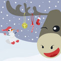 Happy deer and snowman Royalty Free Stock Images