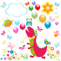 Happy dinosaur design dino cute colorful card Stock Images