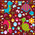 Happy dinosaurs background cute colorful Royalty Free Stock Photos
