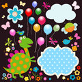 Happy dinosaurs card dinos cute colorful Royalty Free Stock Photos