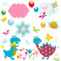 Happy dinosaurs cute colorful design with Stock Image
