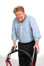 Happy Disabled Man Using Walker Royalty Free Stock Photo