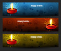 Happy diwali beautiful bright three colorful set of headers design Royalty Free Stock Photography