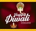 Happy diwali celebration background with lord ganesha