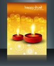 Happy diwali diya hindu festival brochure reflection template ve Stock Image