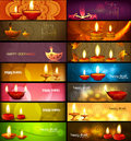Happy diwali stylish bright colorful collection headers set of Stock Photo