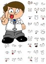 Happy doctor cartoon expresion set Royalty Free Stock Photo