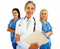 Happy doctor and nurse team on white Stock Image