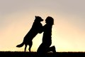 Happy dog jumping up to greet woman silhouette the of a german shepherd mix is a young his master in front of a sunsetting sky Stock Image