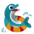 Happy dolphin a blue with big eyes and its float Royalty Free Stock Images