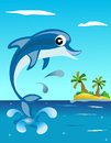 Happy dolphin jumping illustration featuring a cute in blue water eps file is available Royalty Free Stock Photos