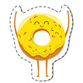 Happy donut cartoon character. Royalty Free Stock Photo