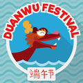 Happy Dragon Boat in Flat Style to Celebrate Duanwu Festival, Vector Illustration Royalty Free Stock Photo