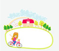 Happy Driving Bike with Cute Smiling Young Girl Royalty Free Stock Photo