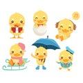 Happy duck cartoon collection set.