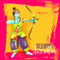 Happy dussehra greeting card design with the god krishna