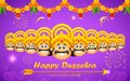 Happy dussehra illustration of raavana with ten heads for Stock Photography