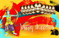 Happy dussehra indian holiday poster with face of ravana