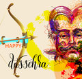 Happy dussehra poster design with a portrait